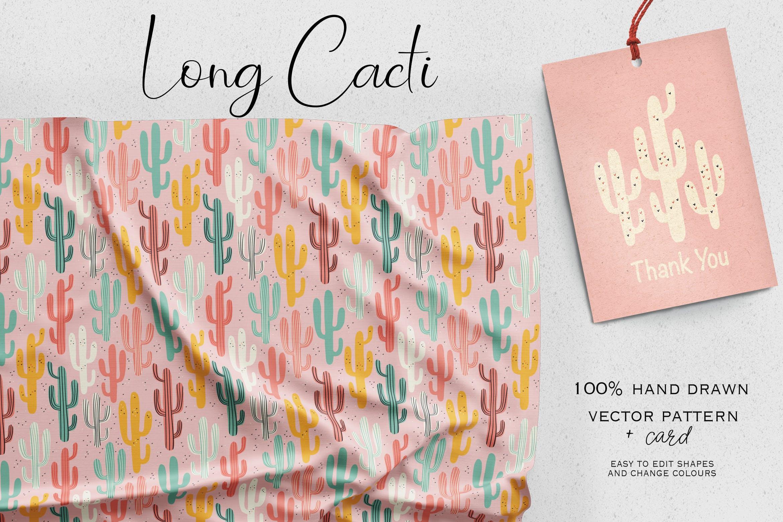 仙人掌植物系列创意图案元素标签装饰图案下载Long Cacti插图