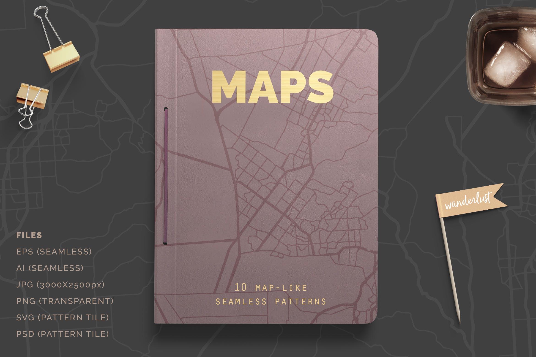 10个地图般的无缝图案矢量图案纹理组合Map Patterns插图