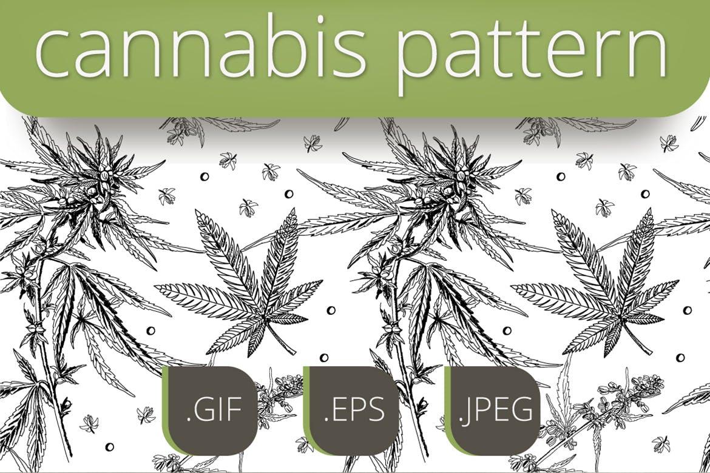 绿植树叶矢量素材轮廓下载Marijuana pattern插图