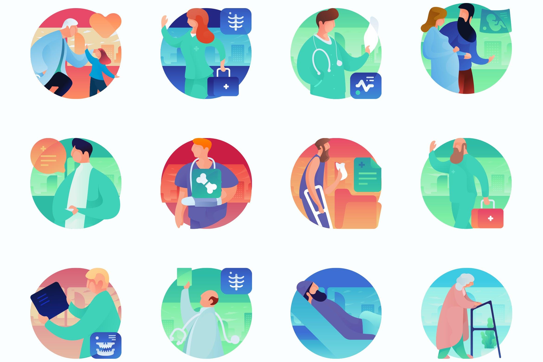 医学曲线人物插图创意扁平矢量图标Medical Curvy People Concept Illustrations插图