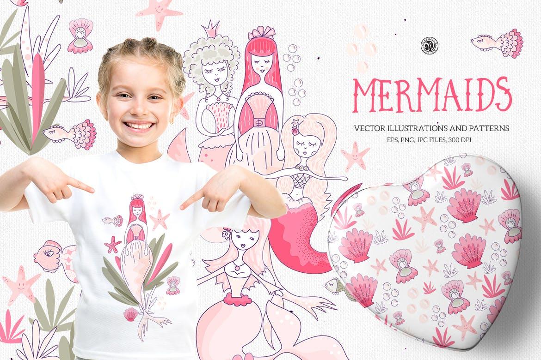 美人鱼粉红色矢量剪贴画和图案Mermaids插图