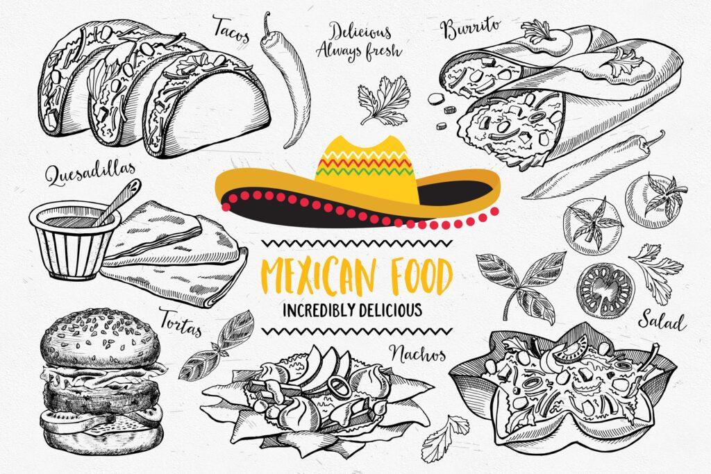 墨西哥美食涂鸦元素装饰图案下载Mexican Food Elements插图