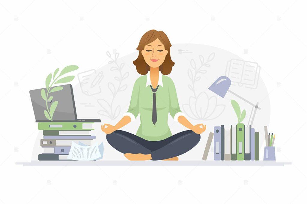 办公室里禅坐冥想主题场景插画Mindfulness at work – colorful illustration插图