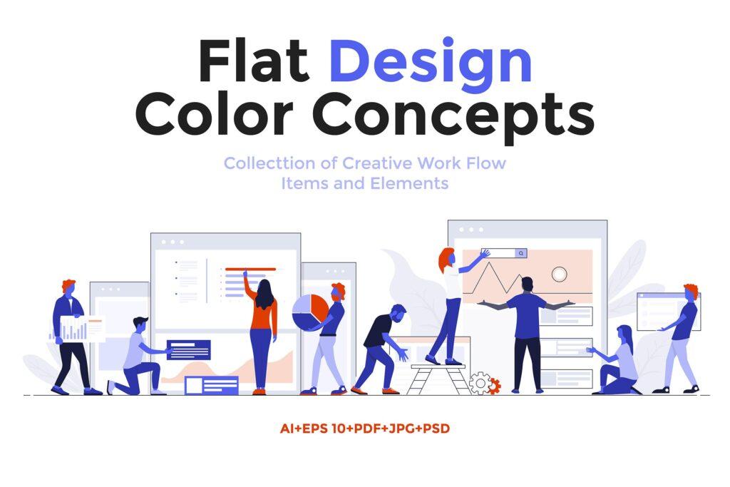 现代扁平化的设计理念和经营理念网站插图Modern Flat Design People And Business Concepts Uz9yxc插图