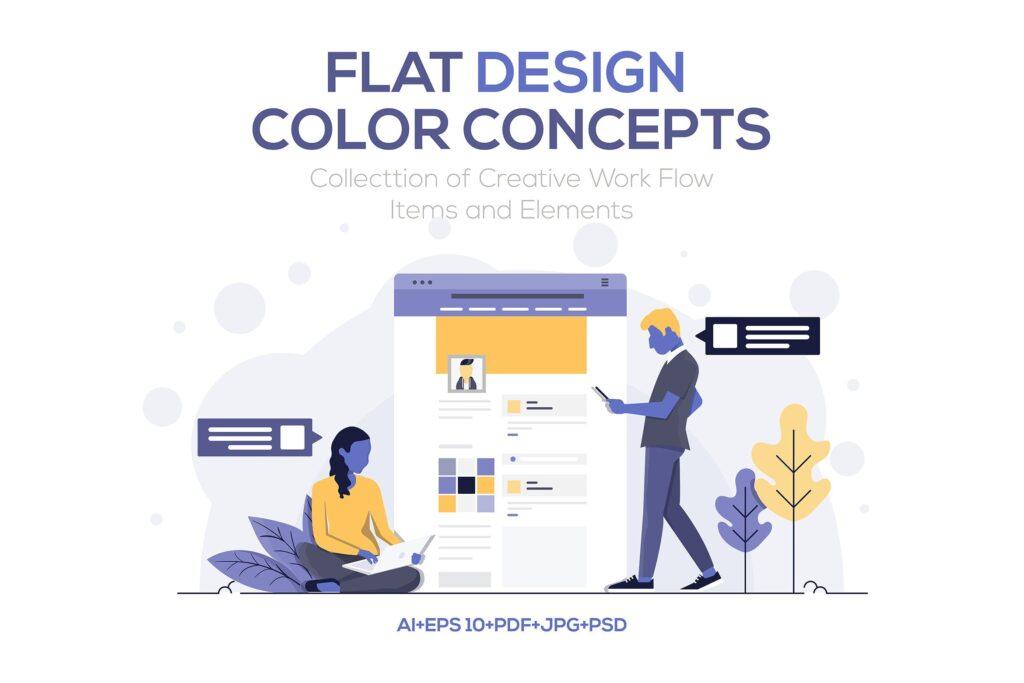 企业市场销售数据汇报场景插画素材下载Modern Flat design people and Business concepts Kxhba7插图