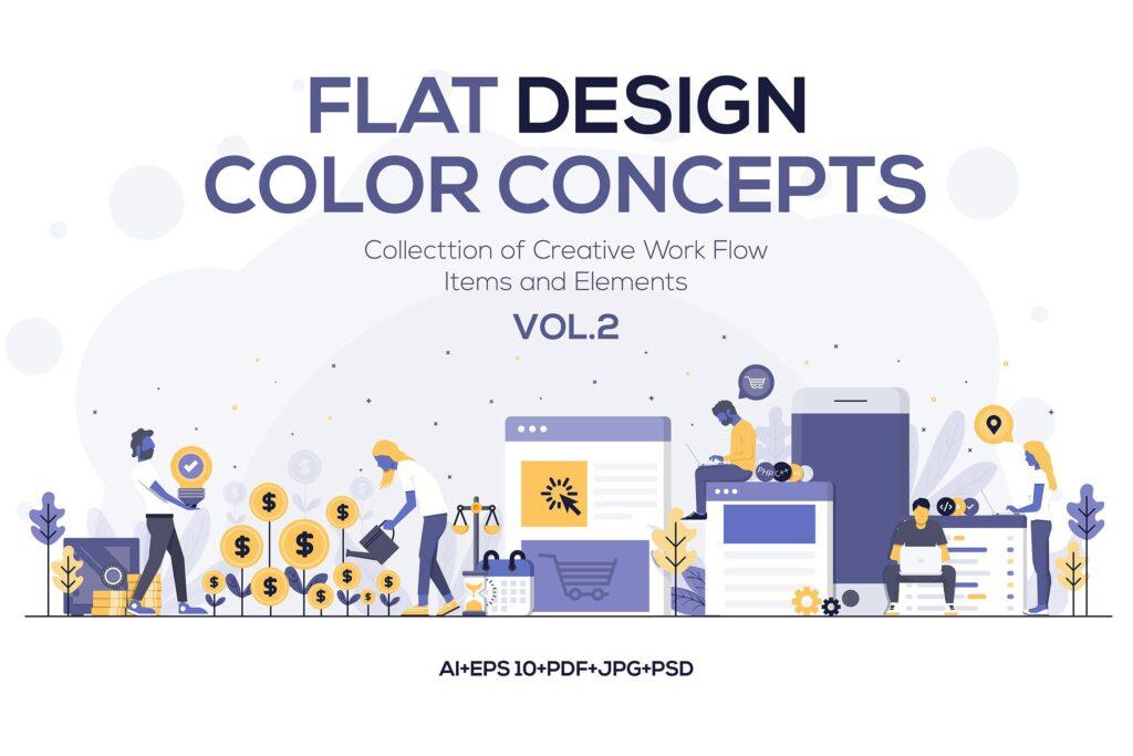 多场景应用主题扁平化插图创意设计Modern Flat design people and Business concepts 2插图