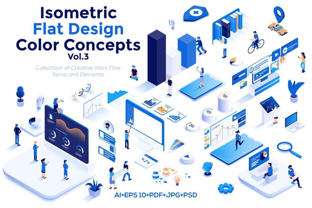 2.5D企业销售数据展示互联网销售场景创意插画设计Modern flat design isometric illustrations插图