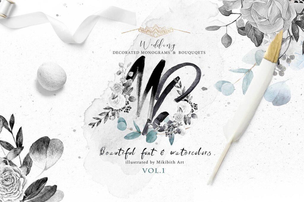 艺术风格灰色字母组合花束装饰图案纹理素材下载Monograms Artarianvol1插图
