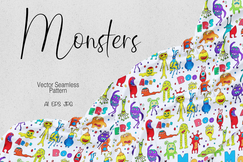 怪物创意图形花图案布艺装饰纹理花纹素材Monsters插图
