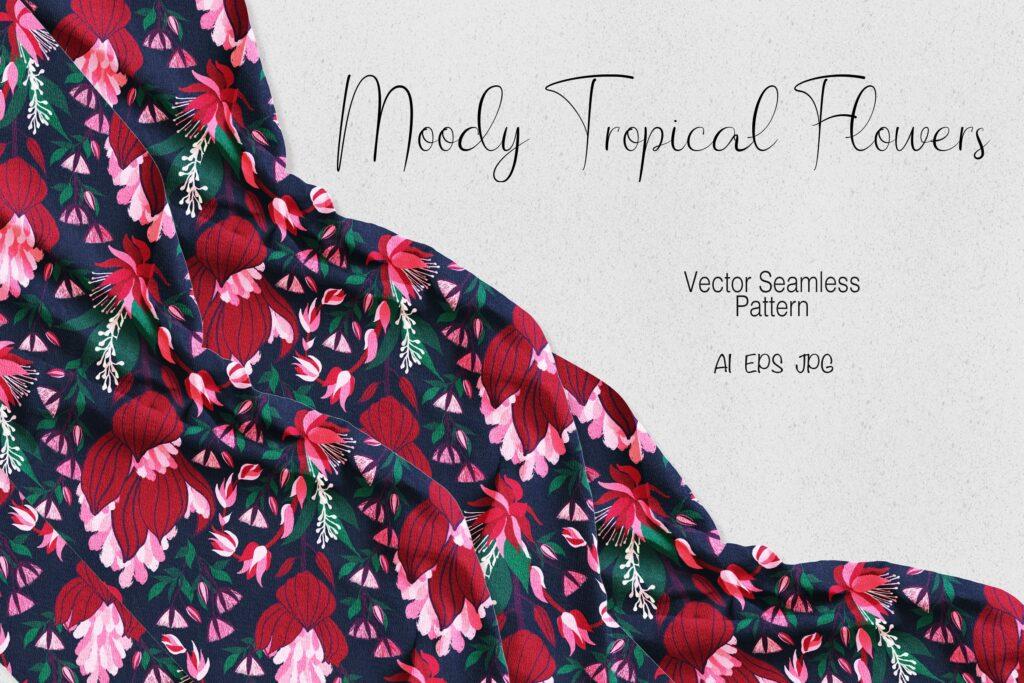 忧郁色彩的热带花卉装饰元素Moody Tropical Flowers插图