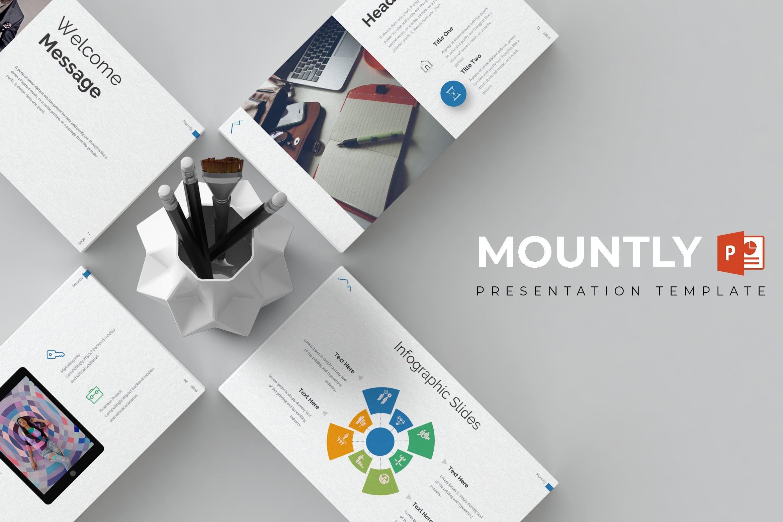 极简主义企业数据演示文稿模板下载Mountly Powerpoint Template插图