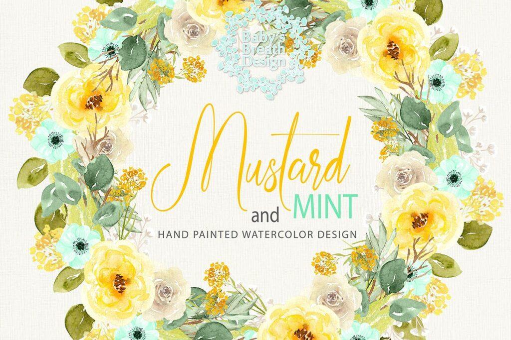 芥末花环创意图案设计装饰花环Mustard Wreath design插图