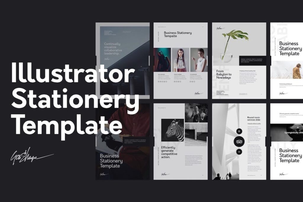 北欧风家居产品风格画册杂志模板下载Nano Illustrator Stationery Template插图