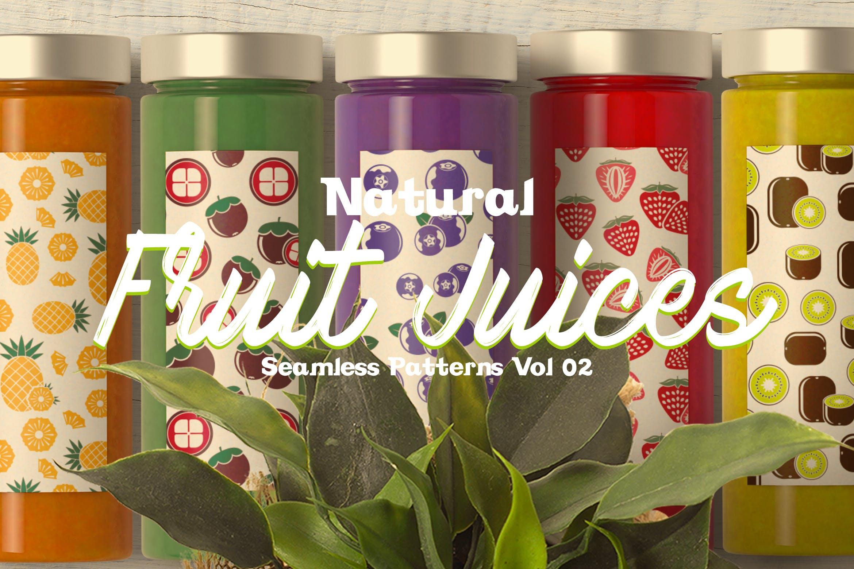 餐饮品牌包装装饰图案水果创意插画元素下载Natural Fruit Juices Seamless Patterns Vol 2插图