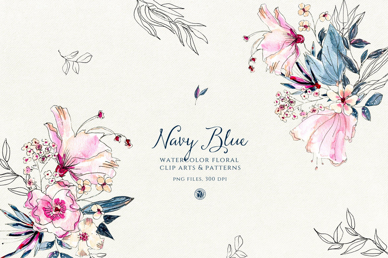 海军蓝花朵手绘水彩花朵和图案装饰元素下载Navy Blue Flowers插图
