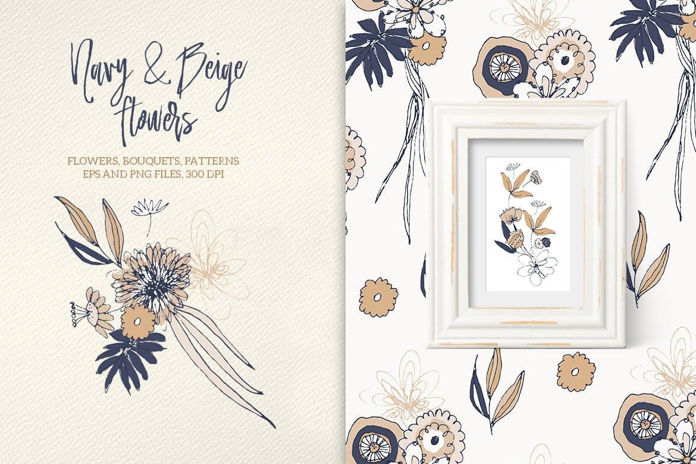 海军蓝和米黄色的花企业品牌装饰图案素材Navy and Beige Flowers插图