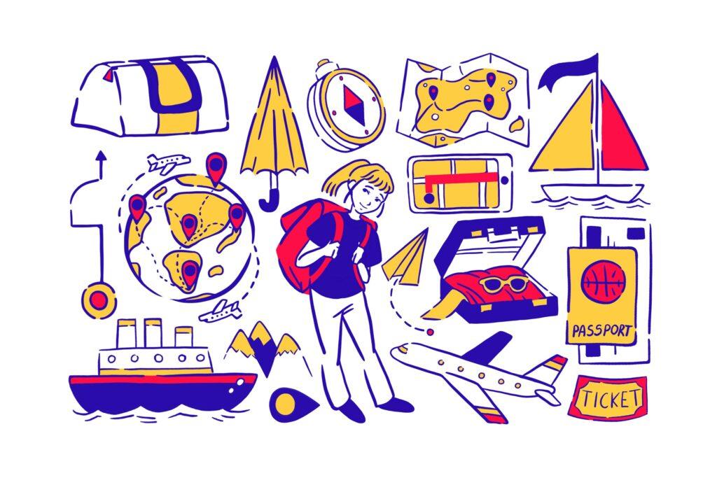 创意霓虹旅游主题元素涂鸦描边风图标下载Neon Travel Doodles插图