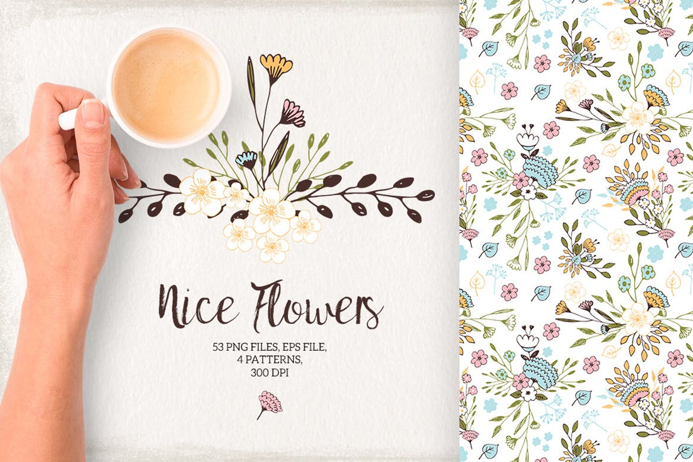 室内墙体装饰纹理素材装饰画Nice Flowers插图