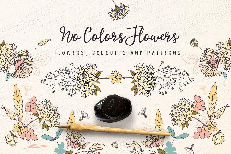 企业品牌纹理印刷装饰图案素材No Colors Flowers插图
