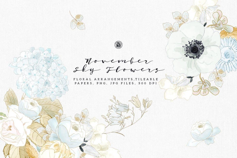 婚礼素雅白色花系装饰图案素材装饰图案下载November Sky Flowers插图