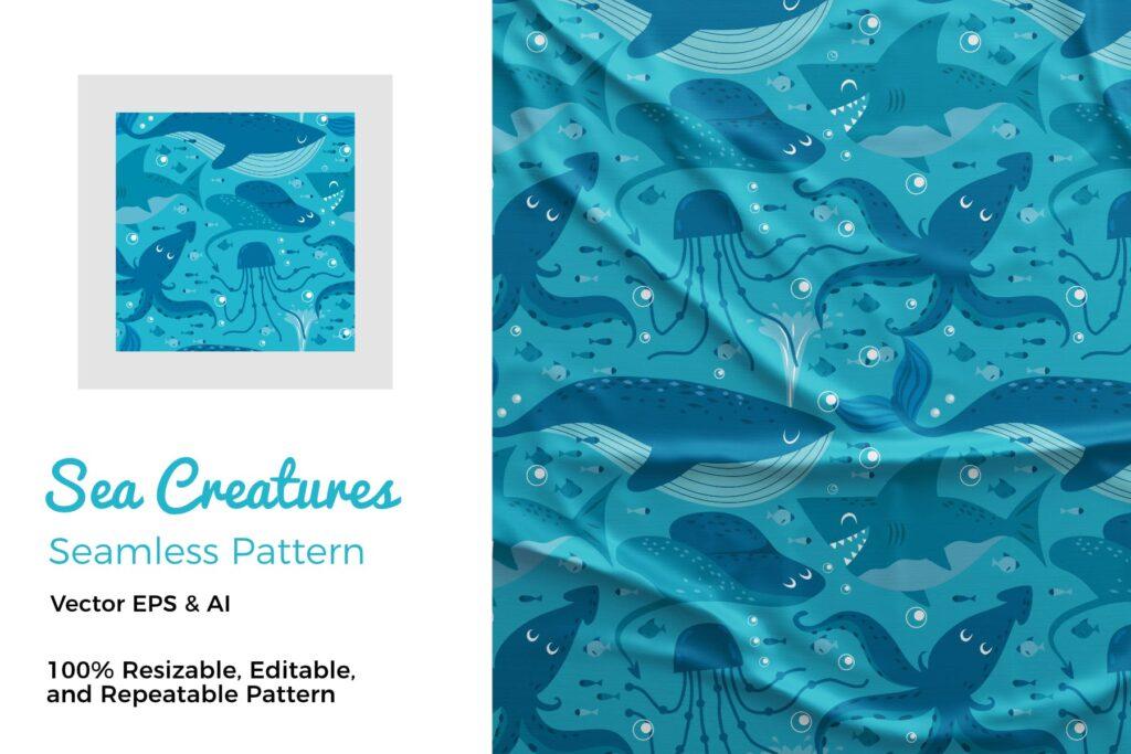 海洋生物主题矢量手绘元素布艺纹理装饰图案OCean Pattern插图