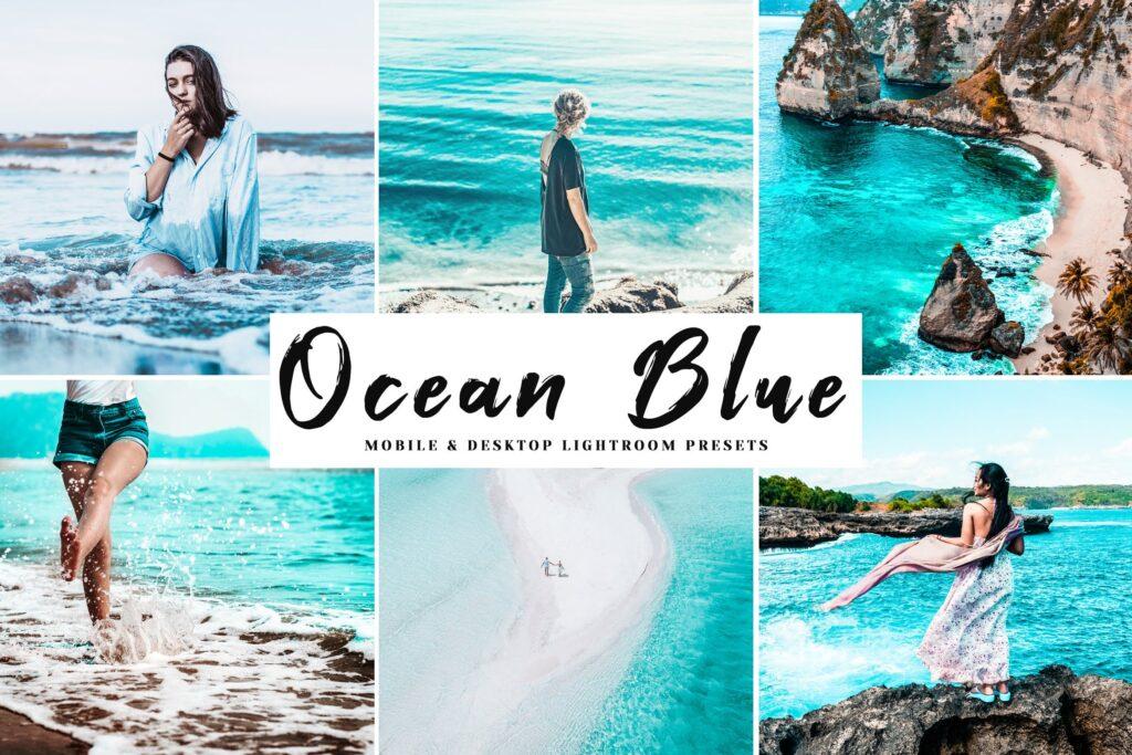 浅绿色和棕色外观颜色及自然色调LR调色预设Ocean Blue Mobile Desktop Lightroom Presets插图
