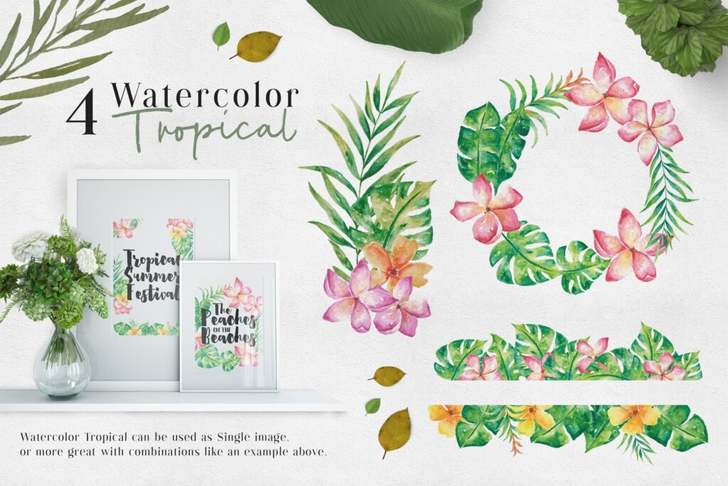 绿植装饰图案下载花纹图案相框装饰画Ofi 4 Watercolor Tropical Graphics插图