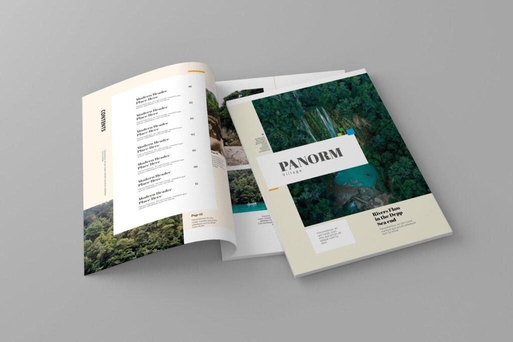 大自然主题/森林/旅游主题杂志模板Panorm Magazine Template插图