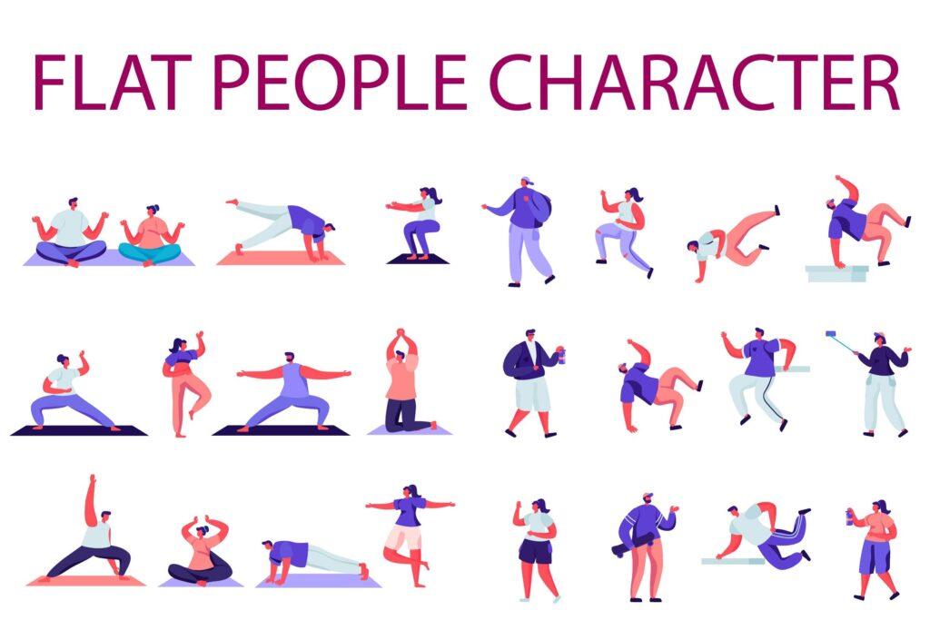 运动健身扁平化多动态运动场景主题插画People Character Creator Kit Hxj6428插图