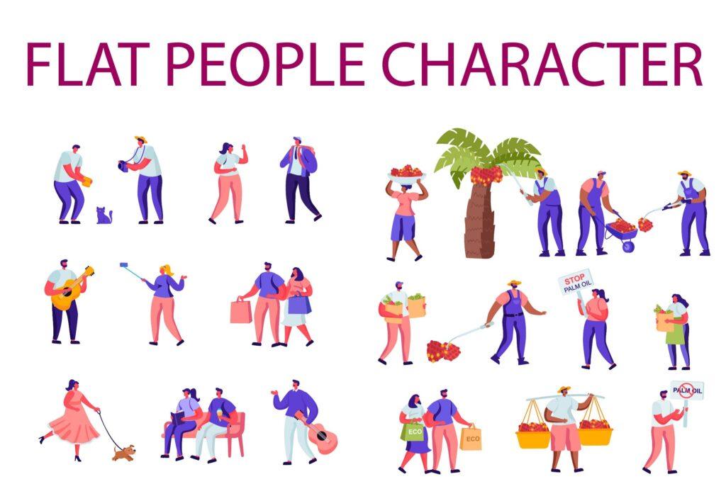现代街头音乐家扁平化人物商业角色棕榈油生产主题插画素材下载People Character Creator Kit N9lth6u插图