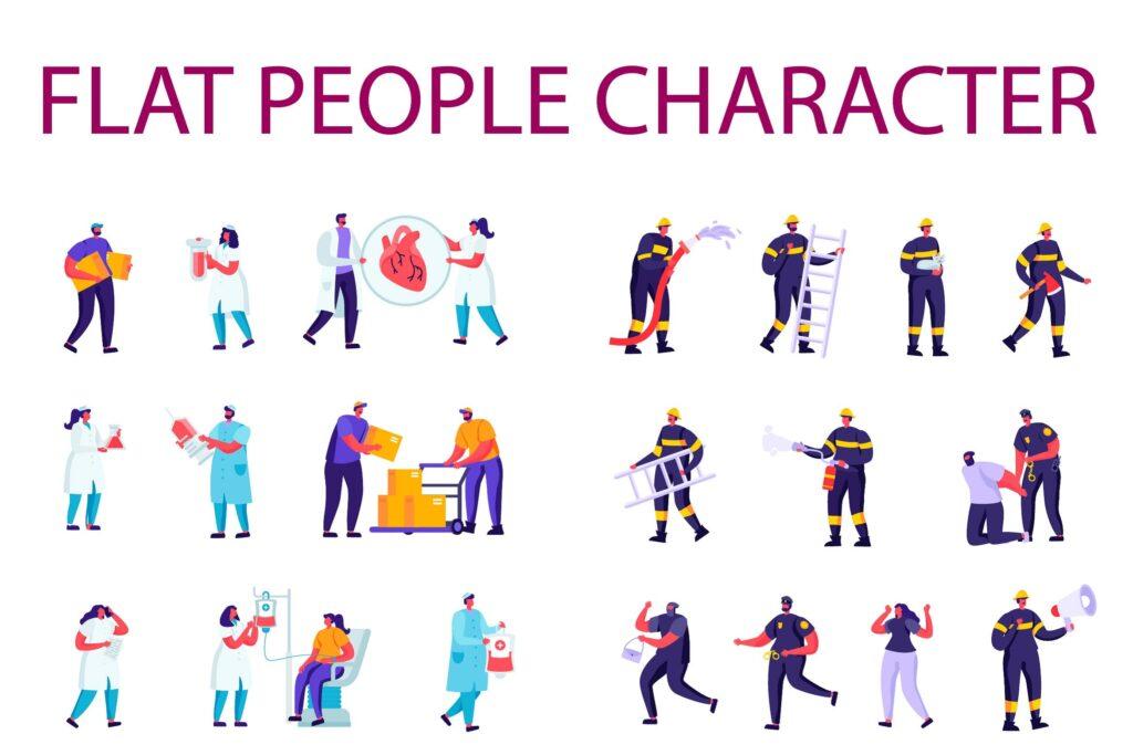 医疗服务扁平化人物商业角色消防演练插画素材下载People Character Creator Kit 9qm6lax插图