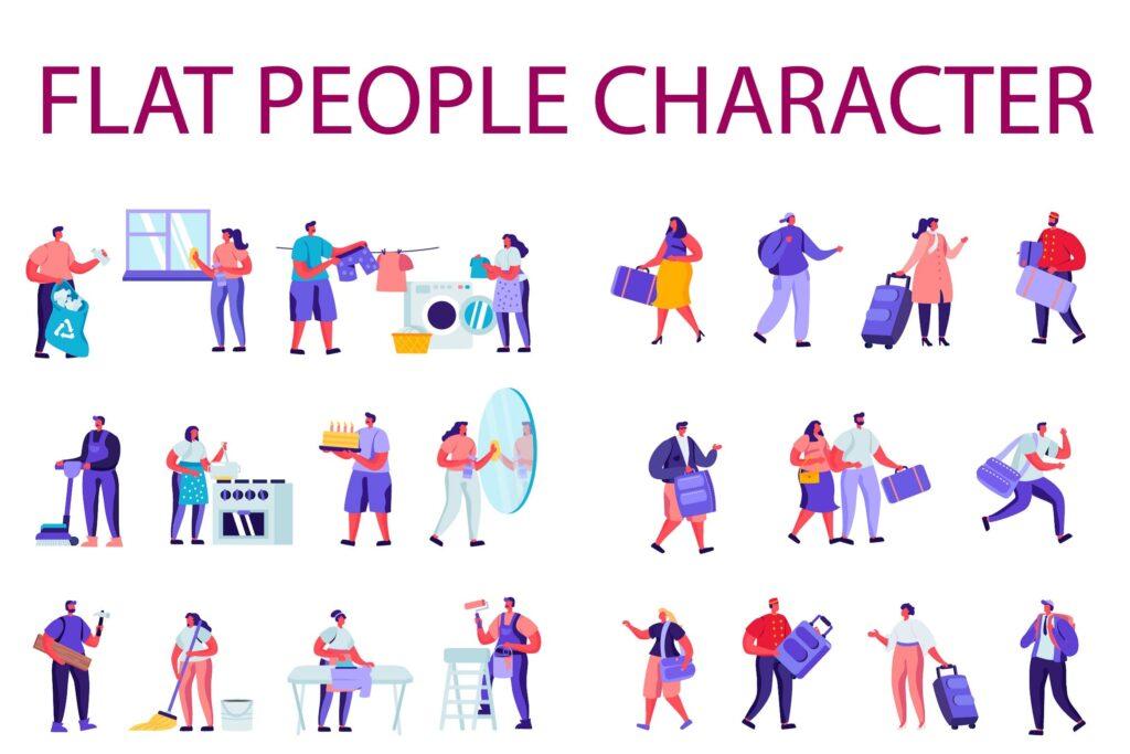 打扫卫生场景旅行主题场景插画素材下载People Character Creator Kit C7ln23f插图