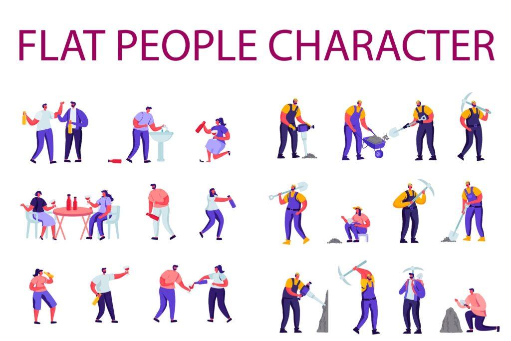 游戏人生和建筑施工场景扁平化人物商业角色插画素材下载People Character Creator Kit Jquvwe5插图