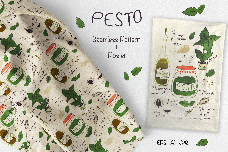 厨房调味配料装饰元素矢量手绘涂鸦元素下载Pesto Recipe Fabric and Tea Towel插图