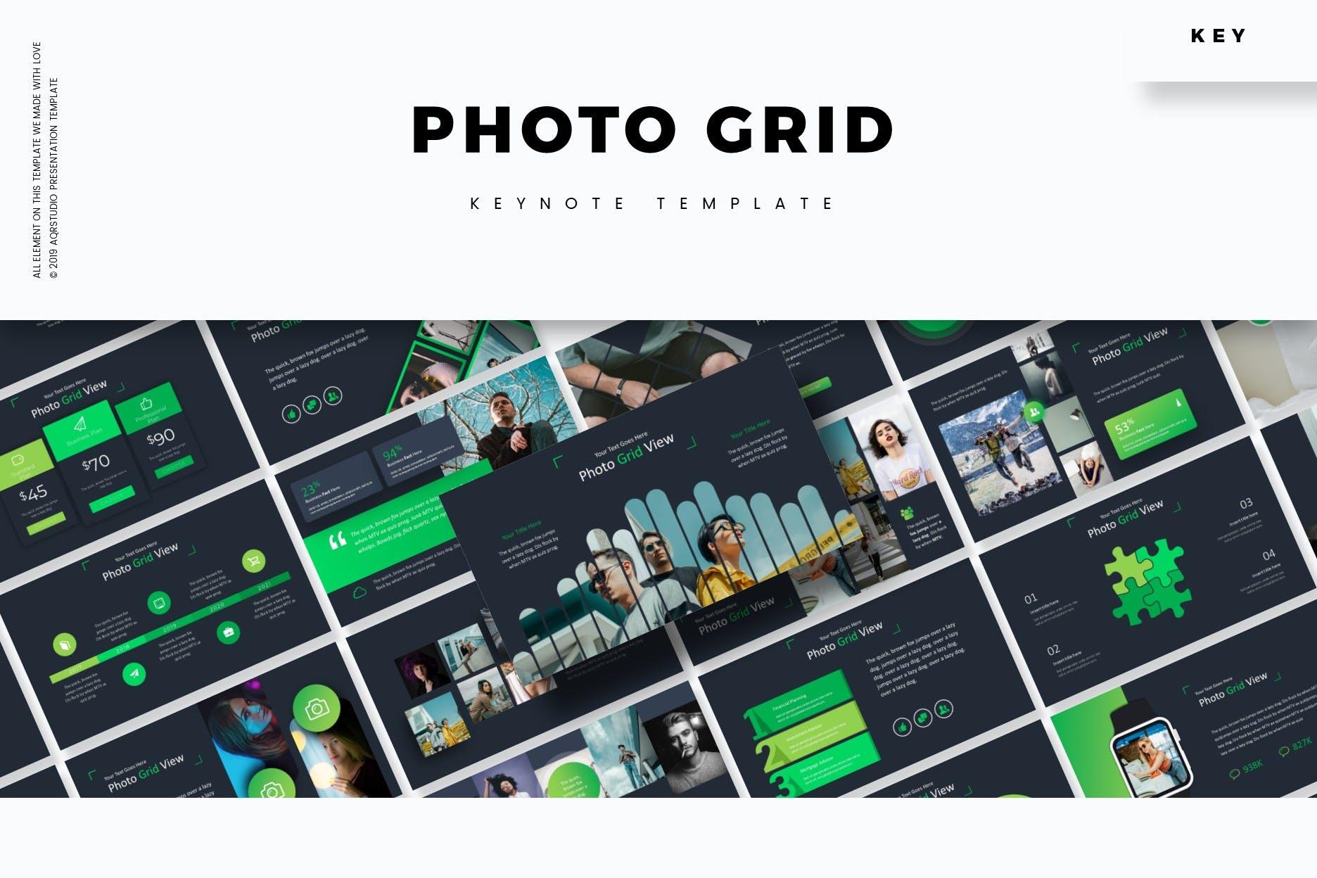 企业业务市场策划PPT幻灯片模板下载Photo Grid Keynote Template插图