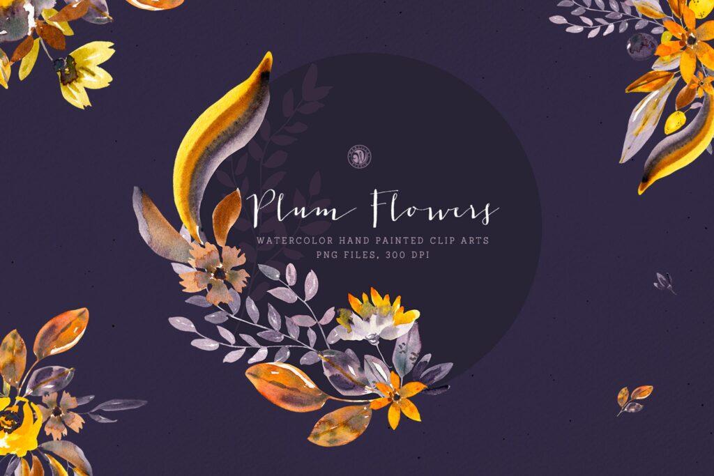 梅花水彩画手绘水彩画剪贴艺术装饰图案Plum Watercolor Flowers插图