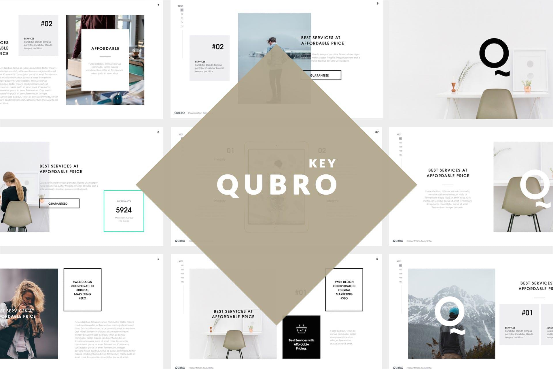 企业品牌宣传介绍幻灯片模板下载Qubro Simple Keynote Template插图