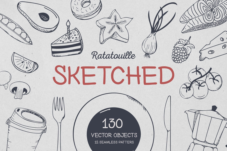 美食餐饮品牌宣传手绘矢量图案素材Ratatouille Sketched插图