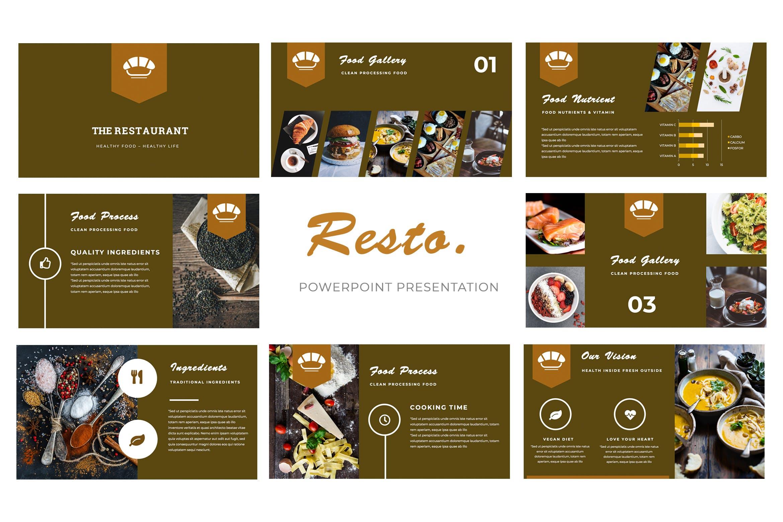 美食餐饮类幻灯片文稿展示Resto Powerpoint Presentation插图