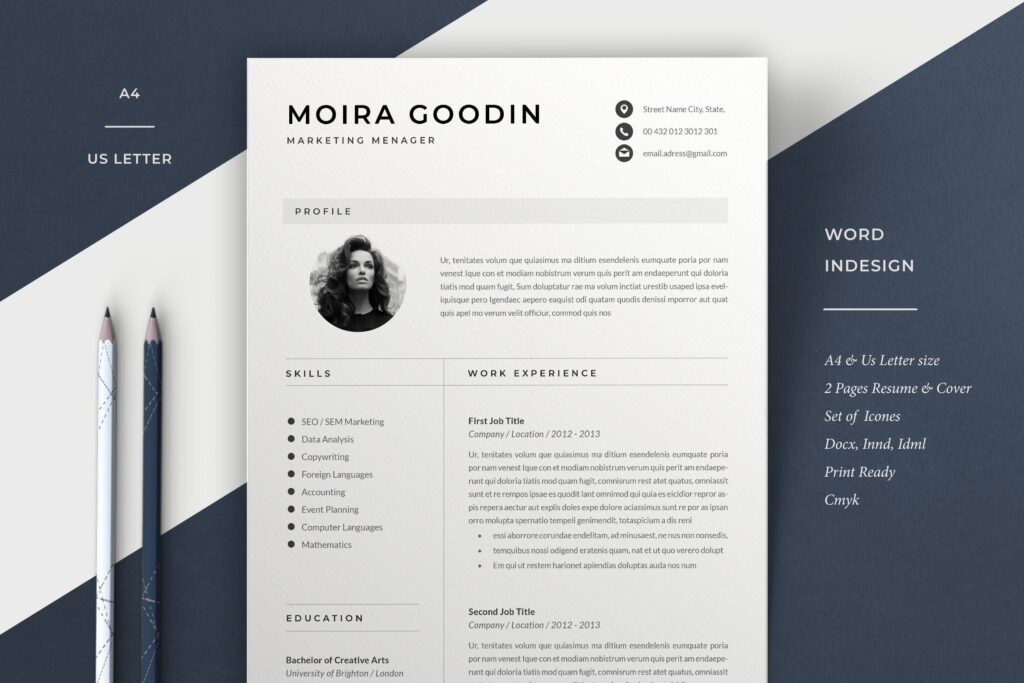 简约版式求职简历模板Resume Template Moira插图