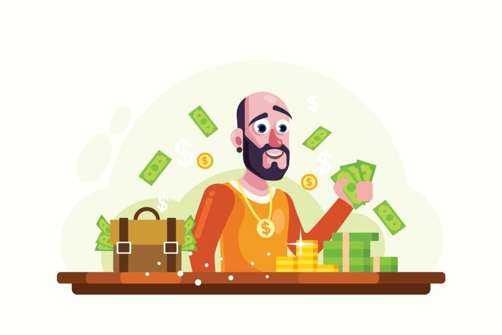 金钱和黄金商业创意场景插画矢量插图Rich Man with Money and Gold Vector Illustration插图
