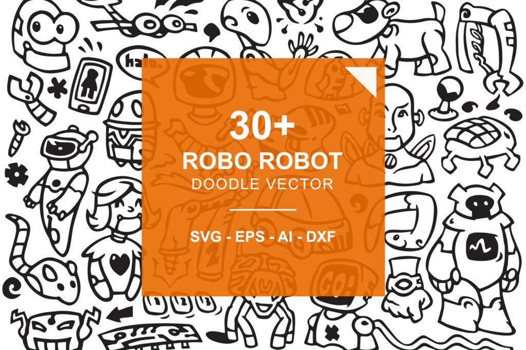 30个机器人涂鸦矢量图标装饰图案花纹素材Robo Robot Doodles插图