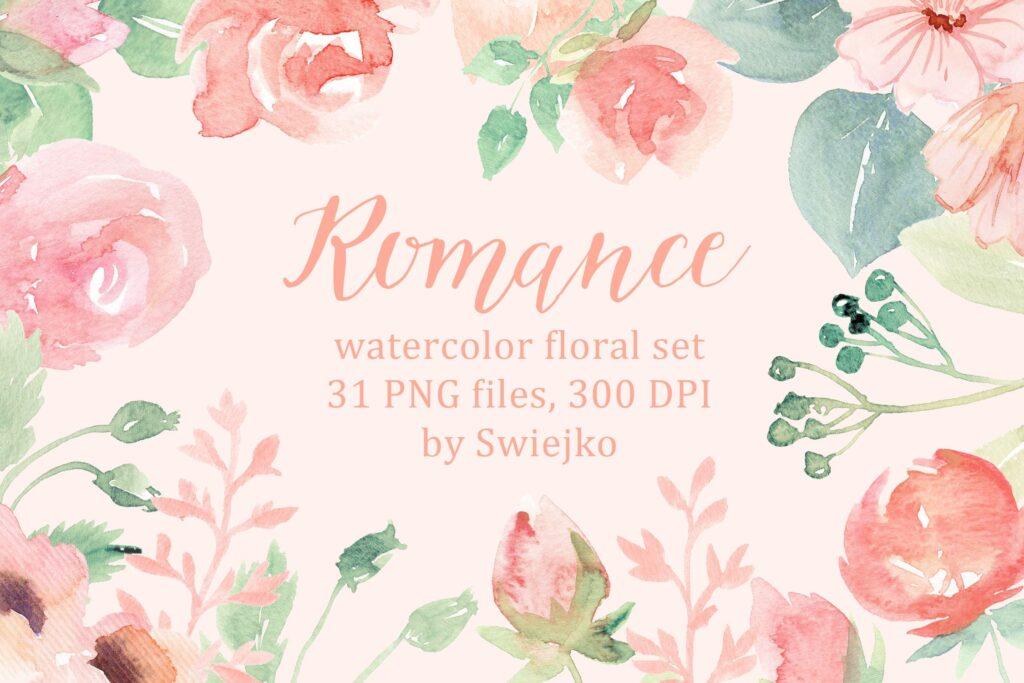 31幅粉色手绘水彩花卉和树叶装饰图案Romantic Watercolor Flowers插图