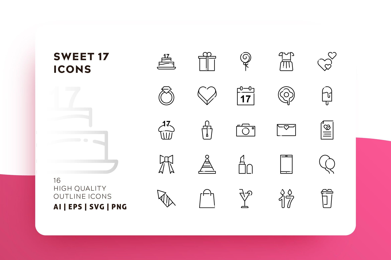 情侣爱情线性创意图标源文件下载SWEET 17 OUTLINE插图