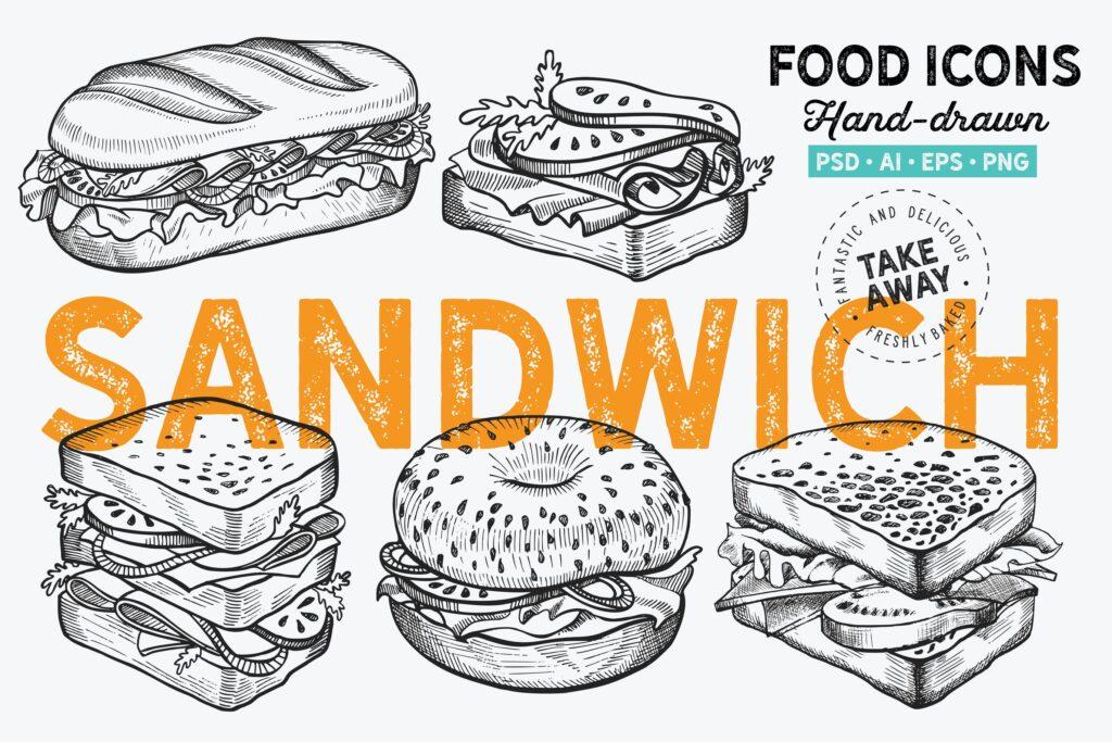 百吉饼手绘元素三明治餐饮相关手绘元素装饰图案Sandwich Fast Food Hand Drawn Graphic插图