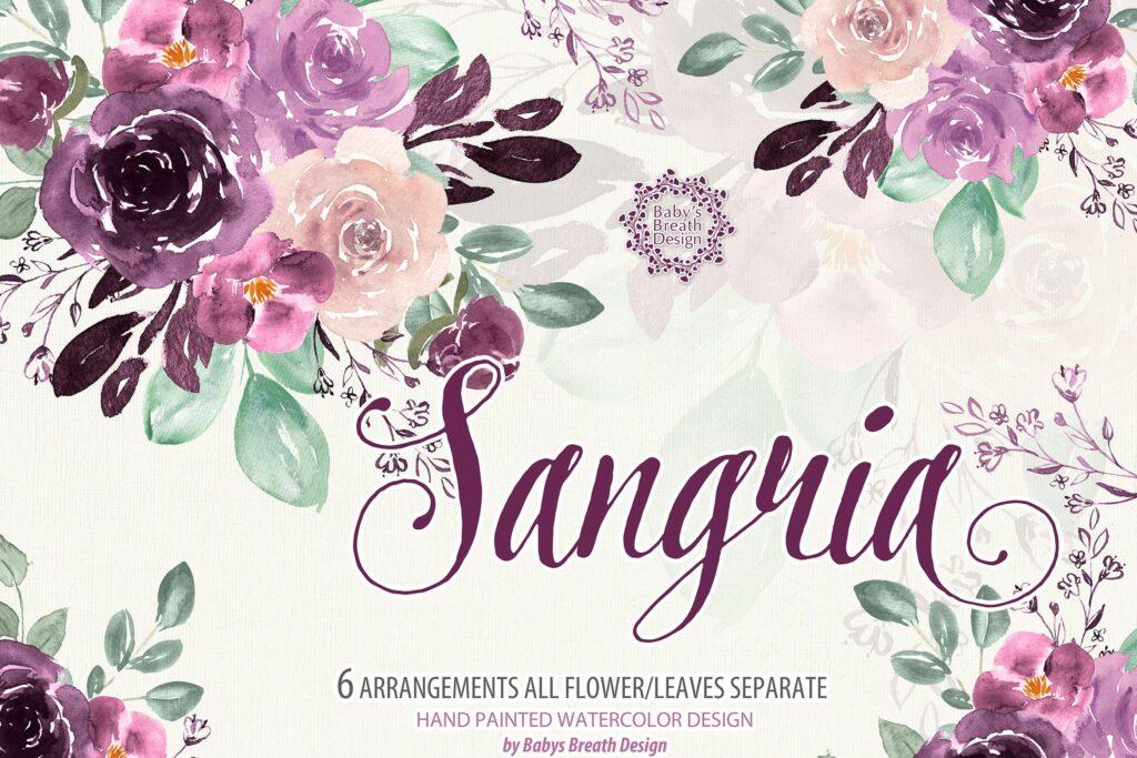 精致优雅花卉图案素材Sangria design插图