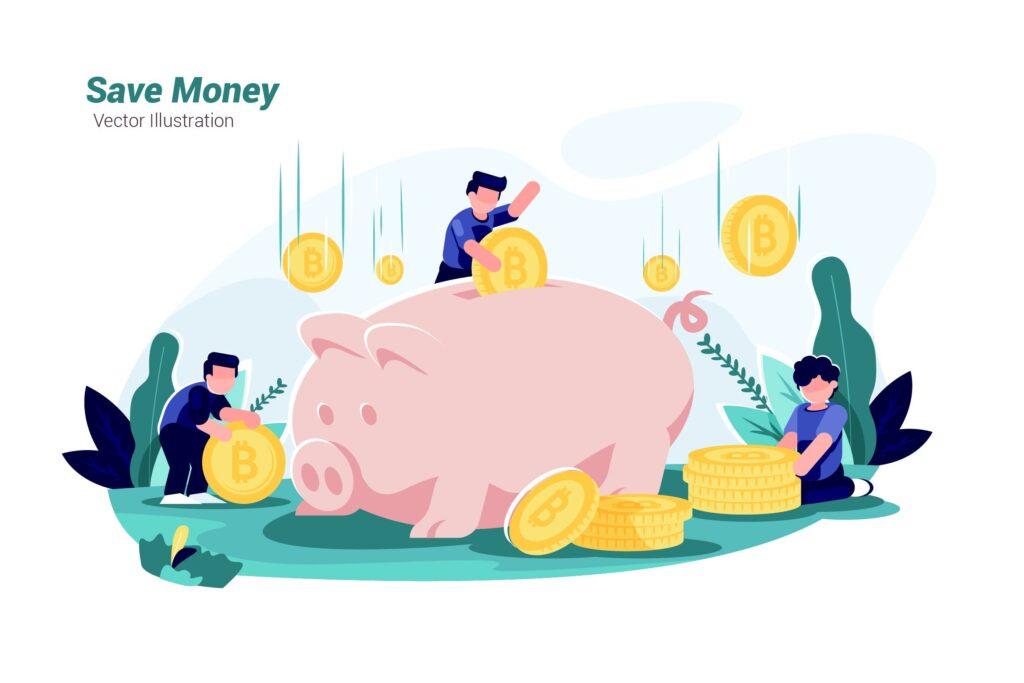 金币储蓄罐场景扁平风格插画Save Money Vector Illustration插图