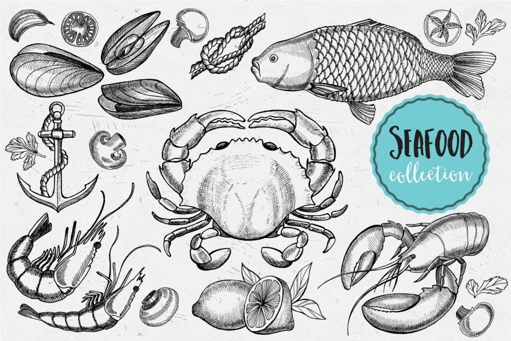海鲜涂鸦元素海鲜水产品牌装饰元素图案花纹下载Seafood Elements插图