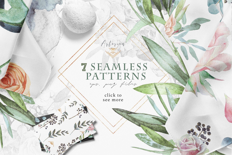 绿植素材相框装饰画墙纸壁纸画Seamless patterns Artarian vol 23插图