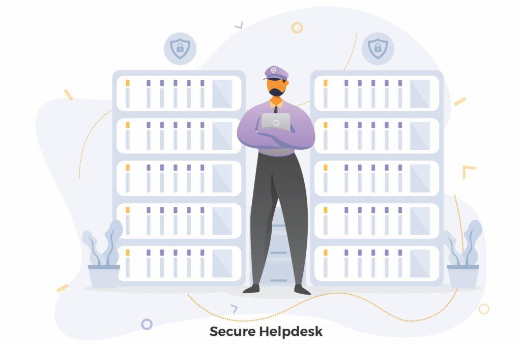 安全检查类场景创意插画Secure Helpdesk Illustrations CRM插图